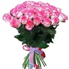Букет 51 бело-розовая роза